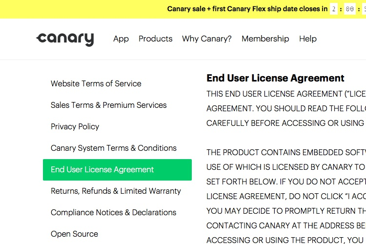 Screenshot of Canary License Agreement