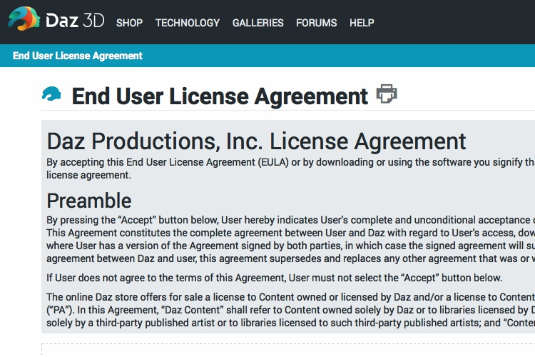 Screenshot of Daz3d License Agreement and