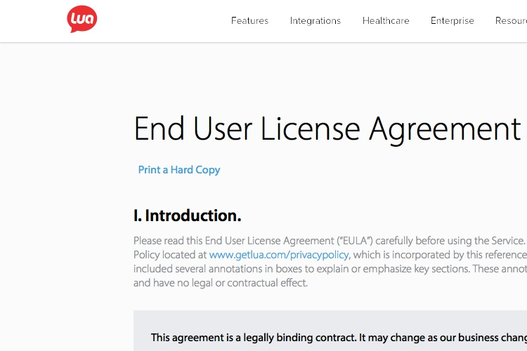 Screenshot of Lua License Agreement