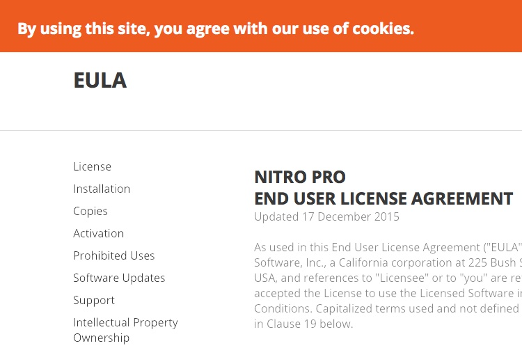 Screenshot of Nitro EULA