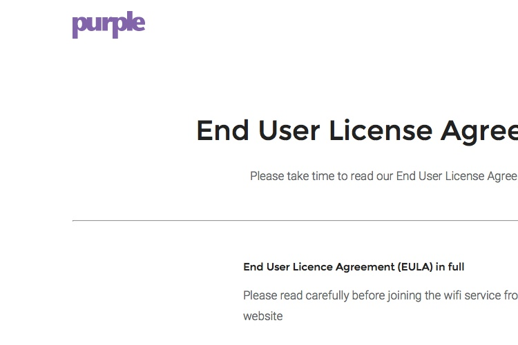Screenshot of Purple License Agreement