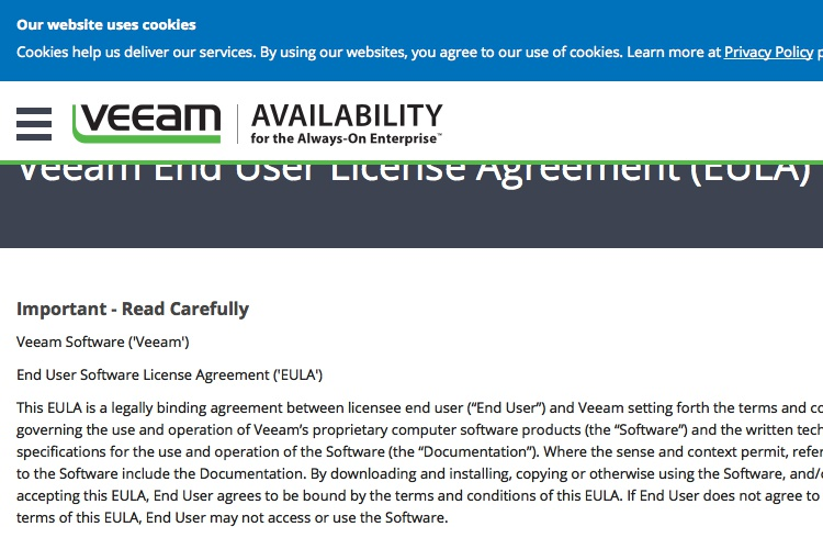 Screenshot of Veeam License Agreement